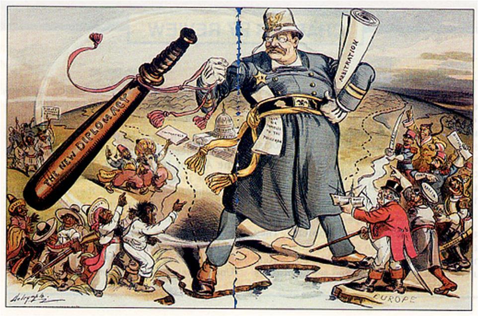 "Comic illustrating Roosevelts ""Big Stick"" policy"